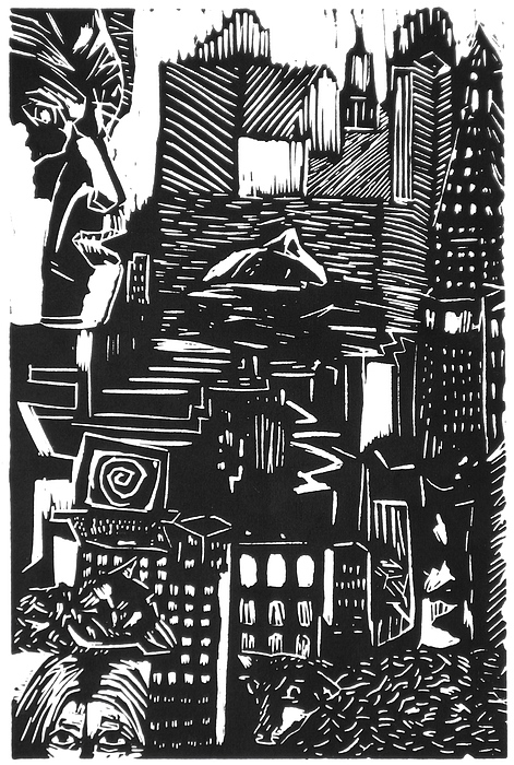 Apocalypse Buildings City Drown Lino Metropolis People Print Sheep Darkestartist Darkest Artist Black Mixed Media - Drowning In Metropolis by Darkest Artist