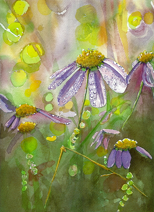 Watercolor Painting - Due Today Z - Dew To Daisy by Lynn Babineau