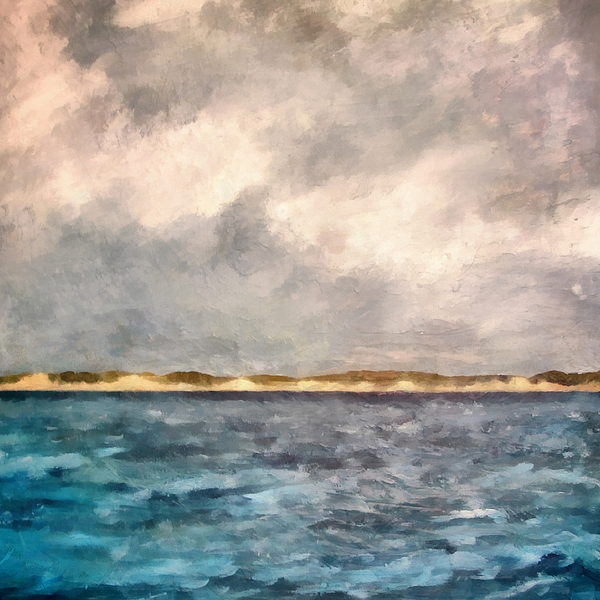 Dunes Painting - Dunes Of Lake Michigan With Rough Seas by Michelle Calkins