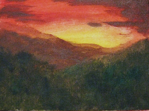 Landscape Painting - Dusk Over Smokey by Trilby Cole