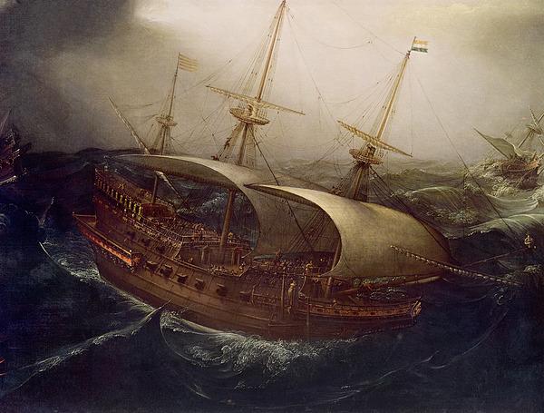 Dutch Painting - Dutch Battleship In A Storm by Hendrick Cornelisz Vroom