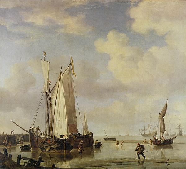Dutch Painting - Dutch Vessels Inshore And Men Bathing by Willem van de Velde