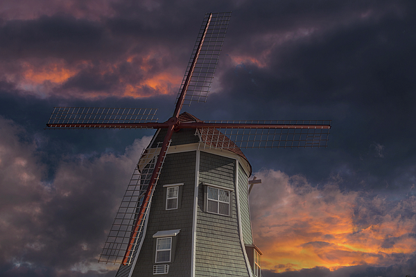 Windmill Photograph - Dutch Windmill In Lynden Washington State At Sunset by David Gn