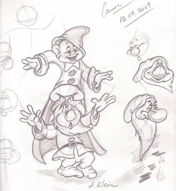 Disney Drawing - Dwarfs by Alex Klein