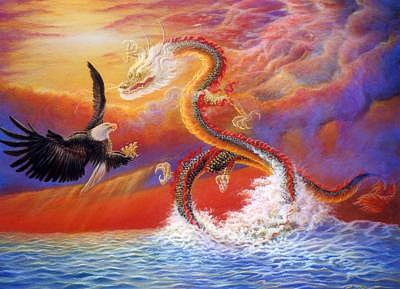 Fantasy Painting - Eagle And Dargon by Pravit Rojawat