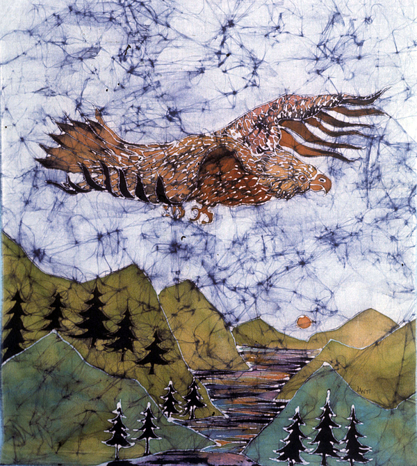 Eagle Tapestry - Textile - Eagle Flies Above Gorge by Carol Law Conklin