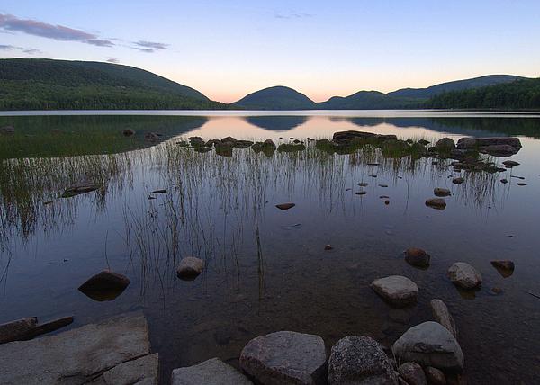Maine Photograph - Eagle Lake Dusk Reflections by Stephen  Vecchiotti