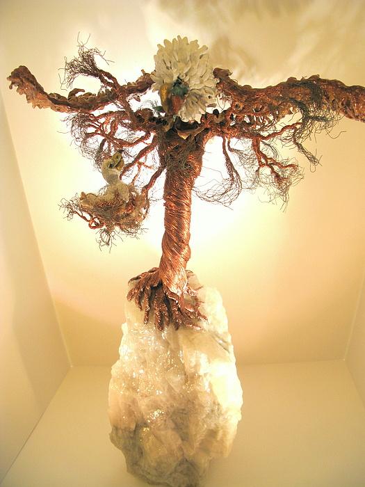 Metal Tree Sculpture - Eagle On Crystal by Judy Byington