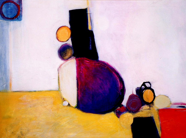 Abstract Painting - Early Blob Having A Ball by Marlene Burns