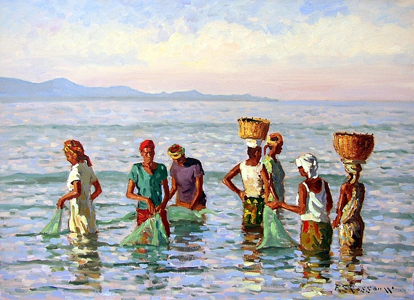 African Figures Painting - Early Morning Fishing by Roelof Rossouw