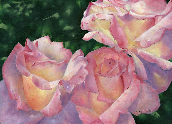 Oil On Canvas Painting - Early Morning Roses by Sheryl Heatherly Hawkins