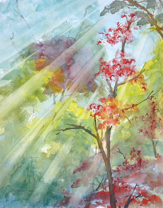 Sun Rays Painting - Early Morning Sun by Kris Dixon