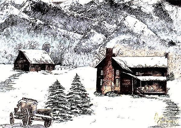 Landscape Painting - Early Snowfall by Penny Everhart