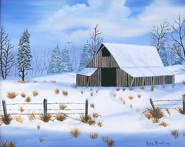 Landscape Painting - Early Snowfall by Ruth  Housley