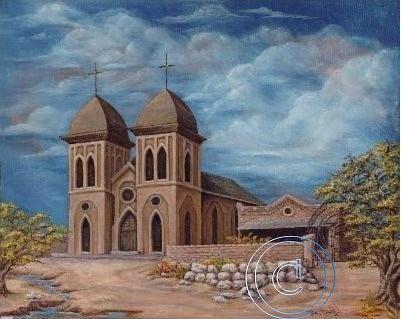 Church Print - Early  St. Genevieve Church by Rosie R Carrillo