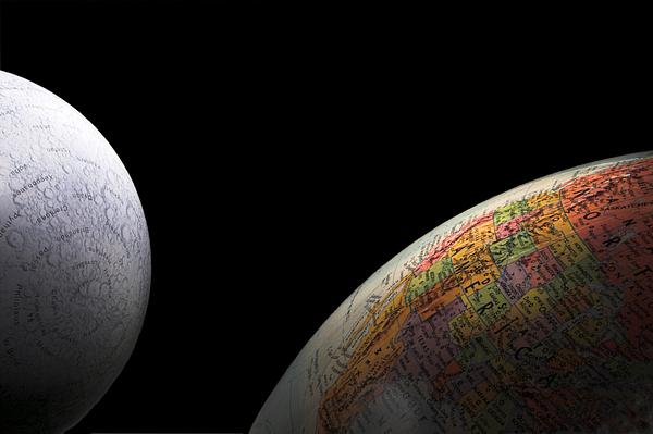 Globe Photograph - Earth And Moon by Rob Byron