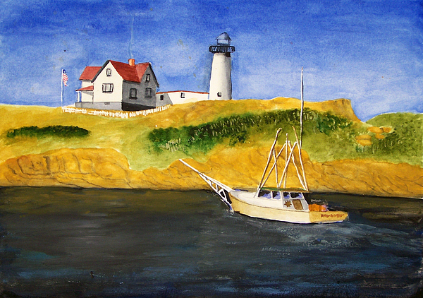 Lighthouse Painting - East Coast Lighthouse With Crab Boat by Robert Thomaston