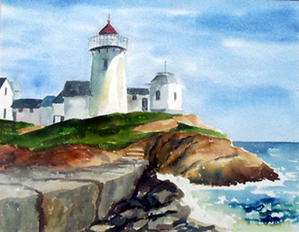 Landscape Print - Eastern Point Light by Anne Trotter Hodge