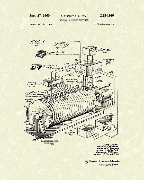 Sprague Drawing - Eckdahl Computer 1960 Patent Art by Prior Art Design