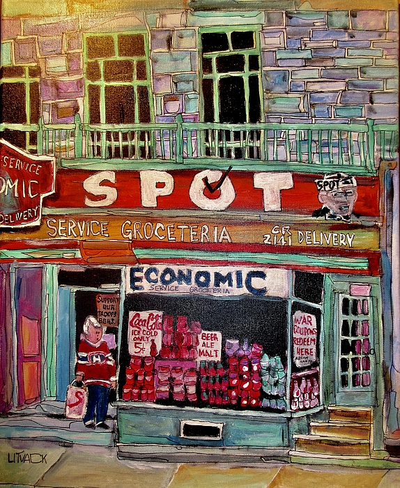 Food Store Painting - Economic On Laurier by Michael Litvack