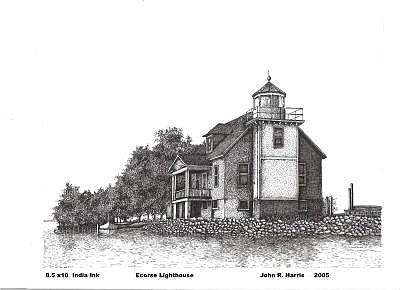 Detroit River Drawing - Ecorse Lighthouse by John  R Harris