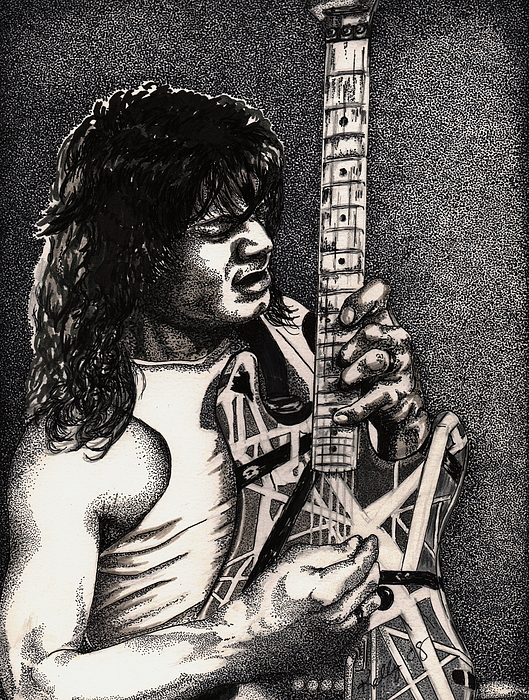 Guitarists Drawing - Eddie Vanhalen by Kathleen Kelly Thompson