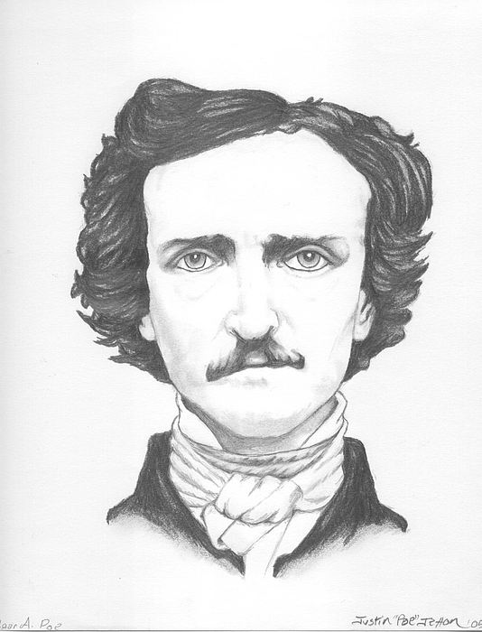 Portrait Drawing - Edgar A. Poe by Justin Jetton