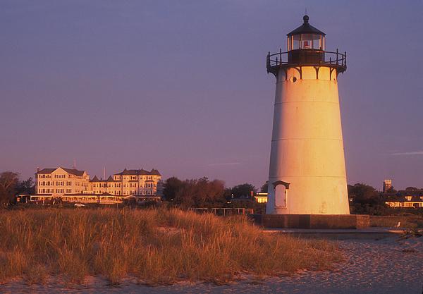 Marthas Vineyard Photograph - Edgartown Lighthouse And Mansion by John Burk