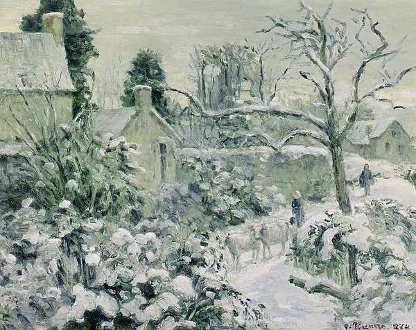 Effect Painting - Effect Of Snow With Cows At Montfoucault by Camille Pissarro
