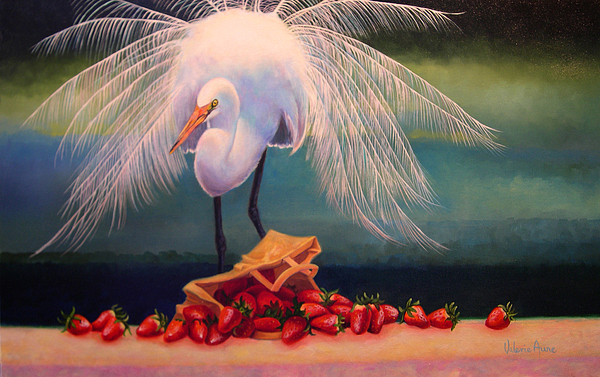 Egret Painting - Egret With Strawberry Bag by Valerie Aune