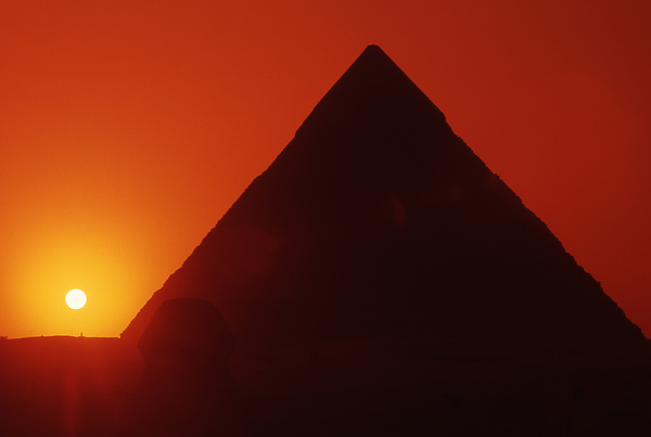 Pyramid Photograph - Egypt. Sunset Behind The Sphinx And Chephren Pyramid. by Steve Outram