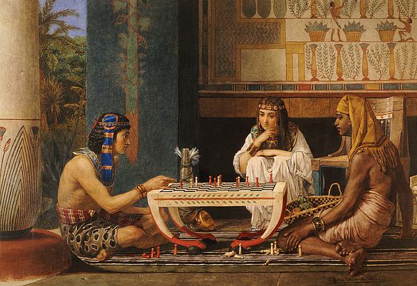Hieroglyphics Painting - Egyptian Chess Players by Sir Lawrence Alma-Tadema