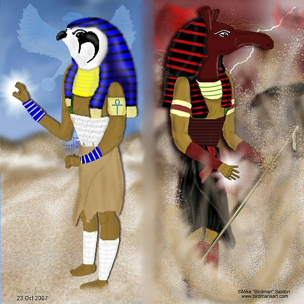 Egyptian Gods Painting - Egyptian Duality by Mike Sexton