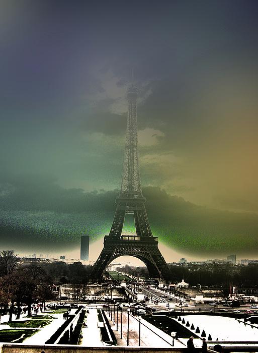 Hdr Photograph - Eiffel Haze by Menucha Citron