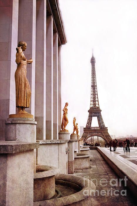 Eiffel Tower Trocadero View Eiffel Tower Trocadero Gilded Golden Statues Eiffel Tower Home Decor Photograph By Kathy Fornal