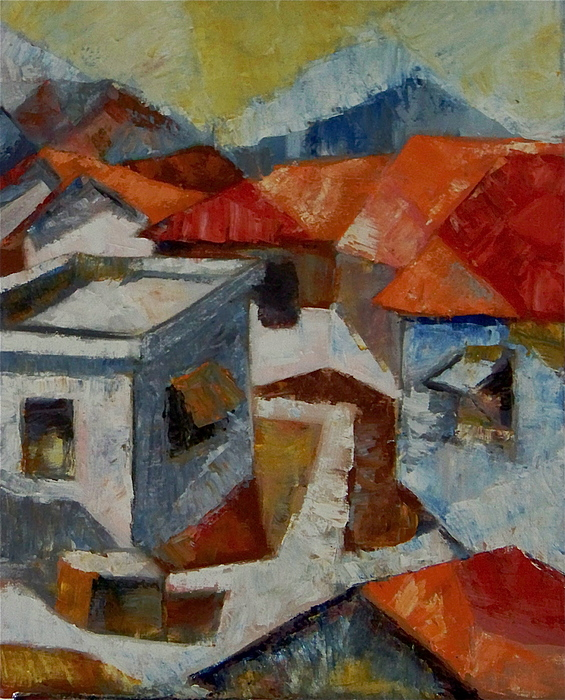 Cubist Painting - El Barrio by Pedro Brull