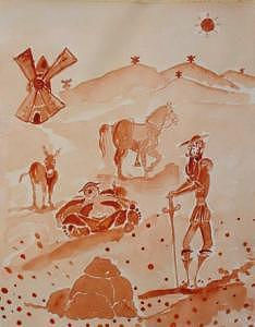 Don Quijote Painting - El Don Y Sancho by Roger Cummiskey