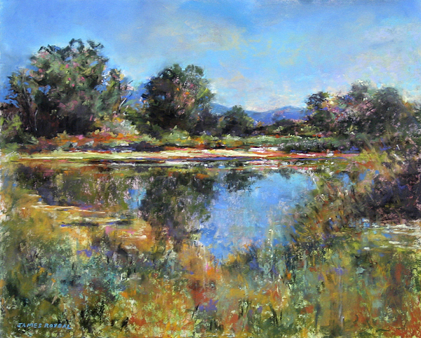 Pond Painting - El Rito Sunrise by James Roybal