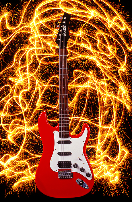 Spark Photograph - Electric Guitar With Sparks by Garry Gay