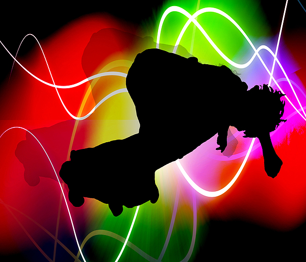 Sport Painting - Electric Spectrum Skateboarder by Elaine Plesser