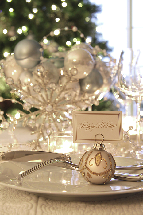 Candle Photograph - Elegant Holiday Dinner Table With Focus On Place Card by Sandra Cunningham