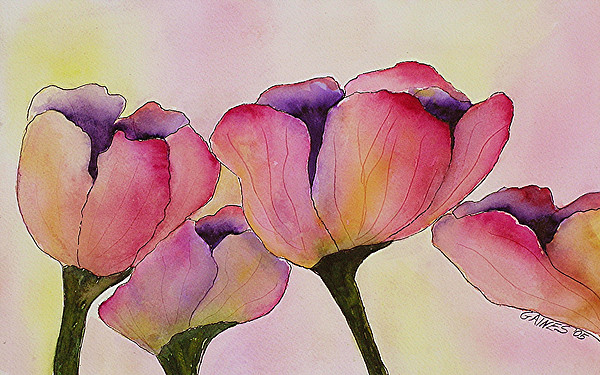 Tulips Print - Elegant Tulips  by Mary Gaines