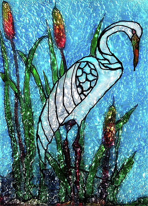 Glass Paint Glass Art - Elegant White Heron by Farah Faizal