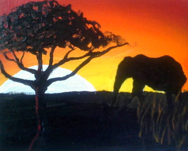 Elephant Of Yellow Sun Painting by Portland Art Creations