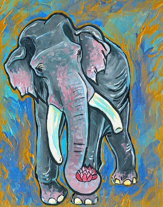 Elephant Painting - Elephant Spirit Dreams by Jenn Cunningham