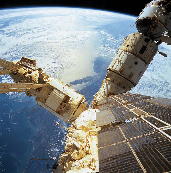 Square Photograph - Elevated View Of A Space Station In Orbit by Stockbyte