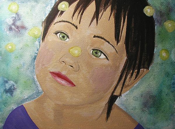 Girl Painting - Elfin Lights by Christy Sobolewski