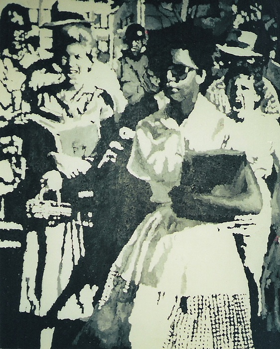 Civil Rights Painting - Elizabeth Eckford Making Her Way To Little Rock High School 1958 by Lauren Luna
