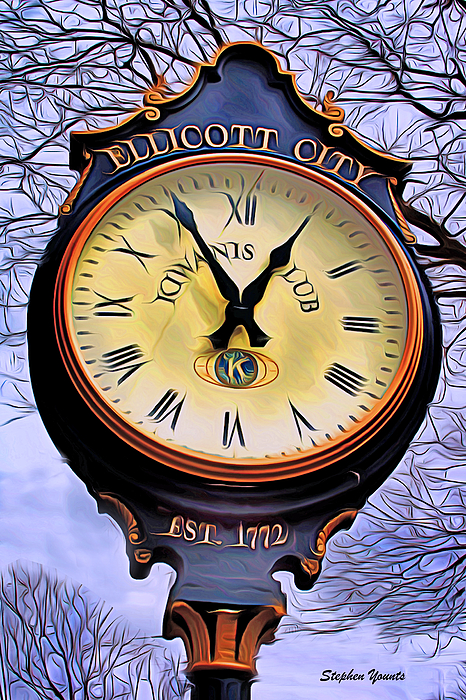 Ellicott Digital Art - Ellicott City Clock by Stephen Younts