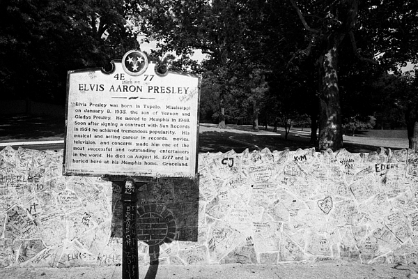 Elvis Photograph - Elvis Presley Marker Nameplate And Low Wall Outside Graceland Memphis Tennessee Usa by Joe Fox